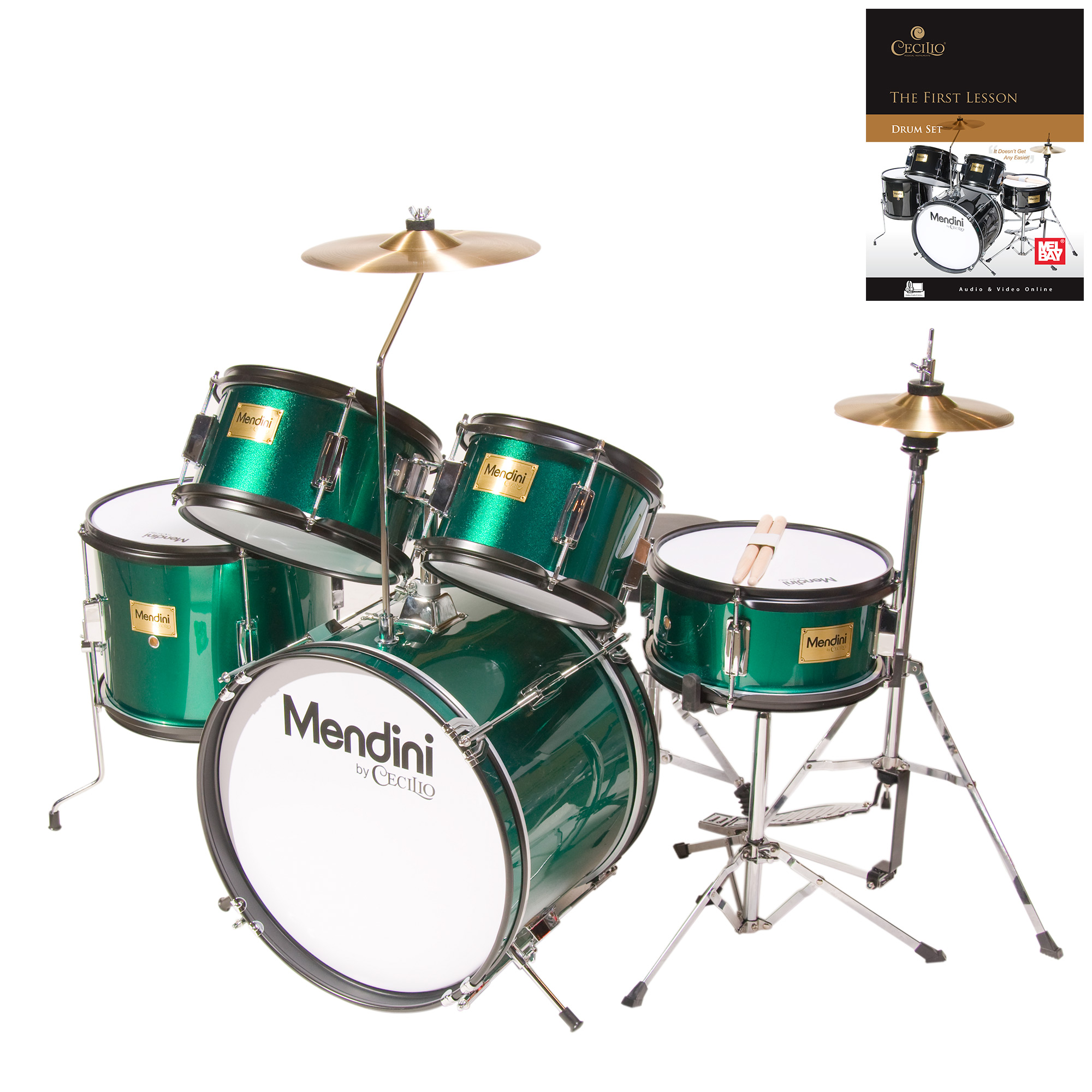 "Mendini by Cecilio 16"" 5-Piece Complete Kids / Junior Drum Set with Adjustable Throne, Cymbal, Pedal, Drumsticks & Lesson Book, Metallic Green, MJDS-5-GN"