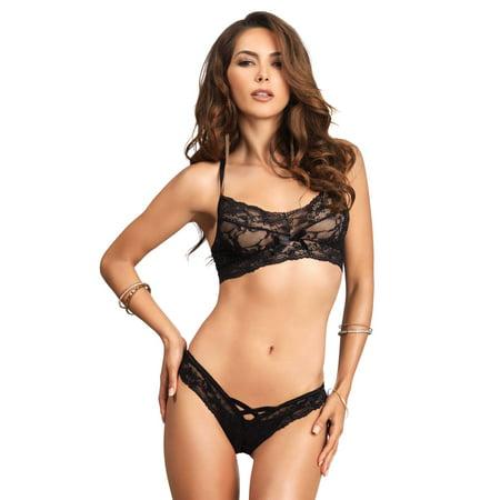 76d1086e4a965 Leg Avenue - 2 PC. Lace halter bralette - Walmart.com