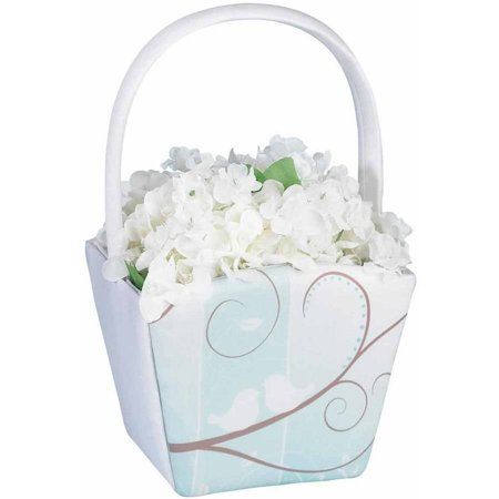 Lillian Rose Love Birds Flower Girl Basket (White Flower Girl Basket)