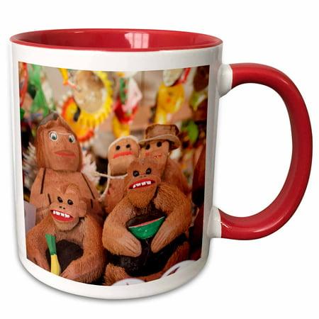 Figurine Mug (3dRose Coconut carved figurines. Zihuatanejo, Mexico. Handicrafts. - Two Tone Red Mug, 11-ounce)