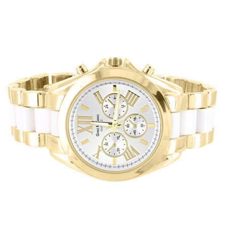 Gold Tone Watch Womens Roman Numeral Hour Mark Stainless Steel Back 2 Tone White LInk (Tona Tona)