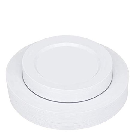 """Stock Your Home Dinner Plates 7"""" & 10"""" 50 Pc Combo -Plain White Round"""