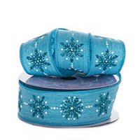 "1 1/2"" X10 Yards Turquoise Sparkling Snowflake Linen Ribbon Christmas by Paper Mart"