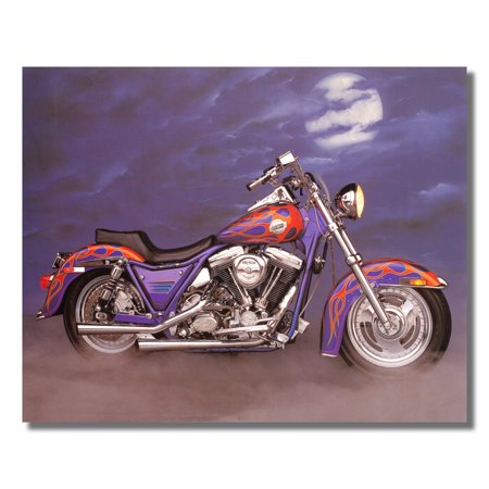 1986 Harley Davidson FXR w/ Flames Motorcycle Wall Picture 8x10 Art (Flame Printed)