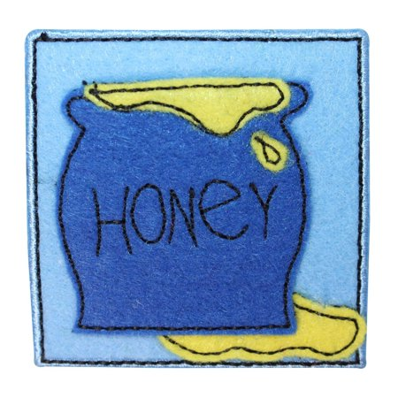 Bee Craft - ID 1720A Honey Pot Badge Patch Felt Bee Craft Embroidered Iron On Applique