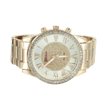 Roman Numeral Dial Watch Mens Geneva Platinum Rose Gold Tone Lab Diamond Bezel by
