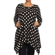 Plus Size Women's Long Sleeves Print Tunic Top