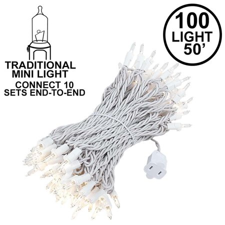 Novelty Lights 100 Light Heavy Duty Clear Christmas Wedding Mini String Light Set, White Wire, Indoor/Outdoor UL Listed, 50' Long - Novelty Christmas Lights