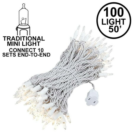 Novelty Lights 100 Light Heavy Duty Clear Christmas Mini Light Set, White Wire, Connect 10, 50' Long (Orange Net Lights Halloween)
