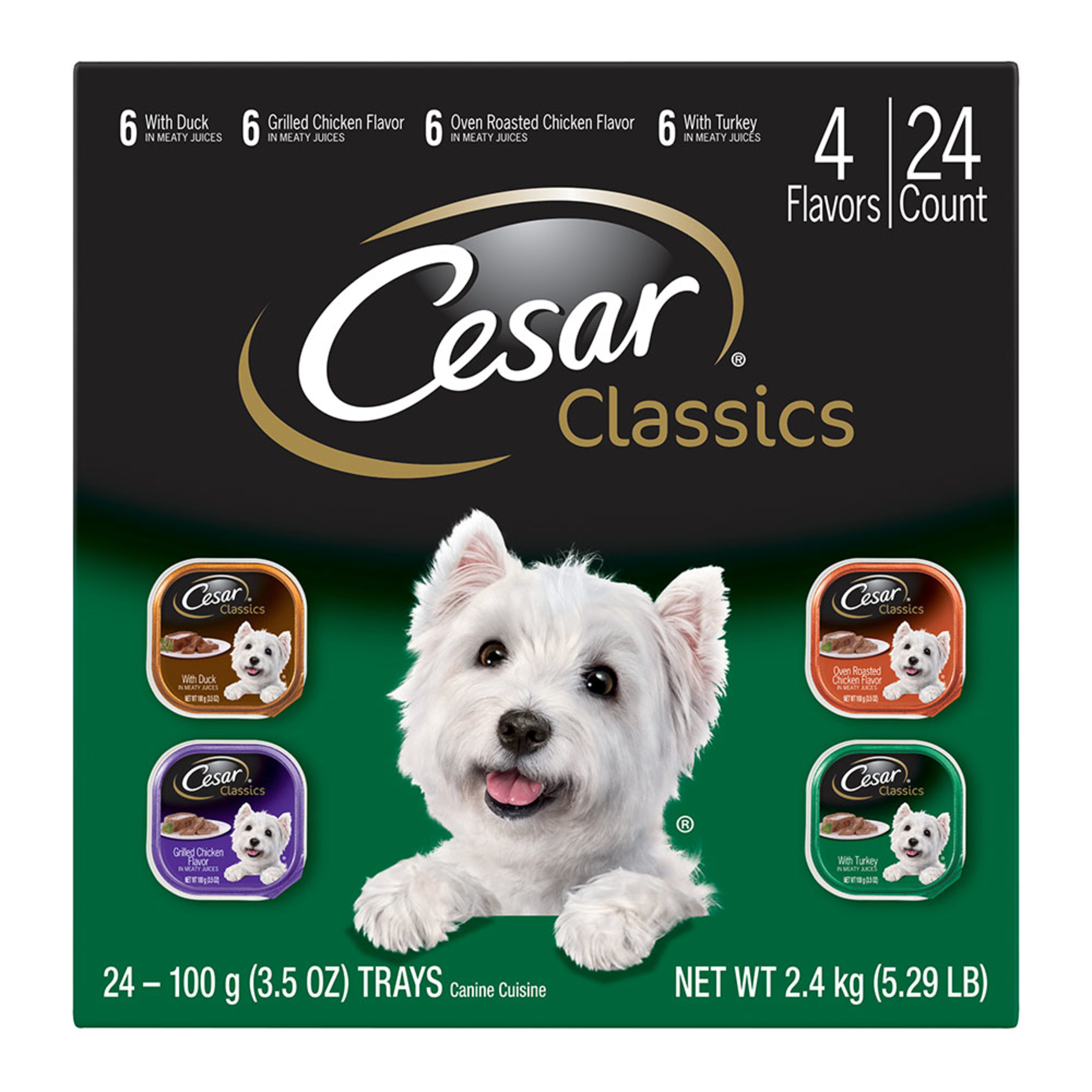 CESAR CANINE CUISINE Wet Dog Food Poultry Variety Pack, (24) 3.5 oz. Trays by Mars Petcare