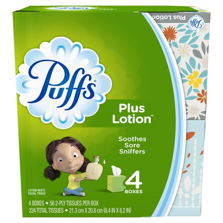 - Puffs Plus Lotion Facial Tissues, 4 Cubes, 56 Tissues per Box