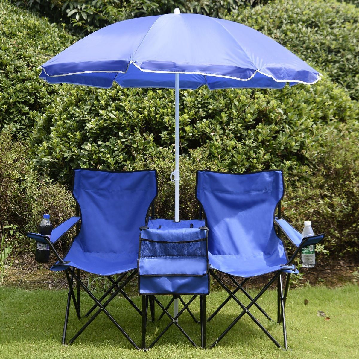 Double Folding Picnic Camping Chair with Umbrella,Table and Cooler Beach