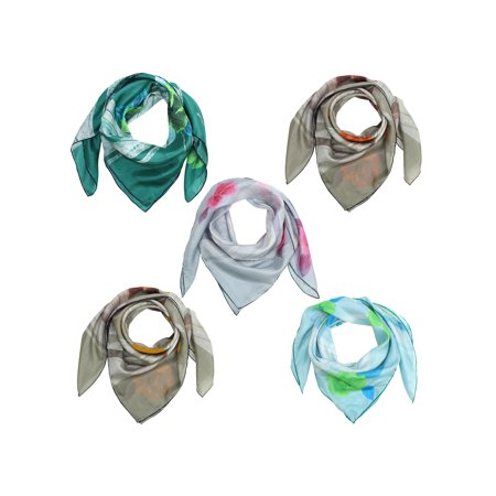 Multicolor Speckled Flowers & Stripes Print Silk Scarf 5-Pack ()