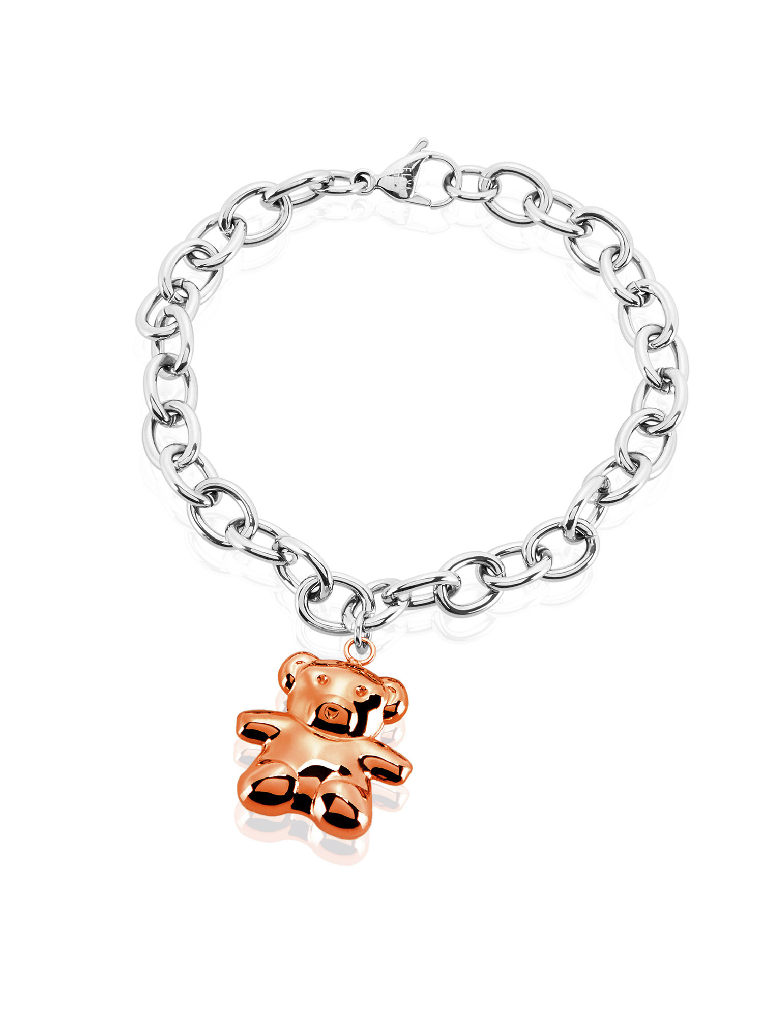ELYA Rose Gold Bear Charm Stainless Steel High Polish Cable Chain Bracelet (8mm) - 8""