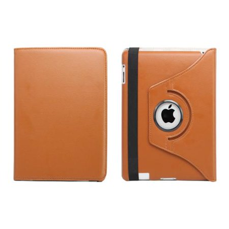 Fosmon 360 Revolving Leather Protector Cover Case Skin for New iPad 2012 - Brown