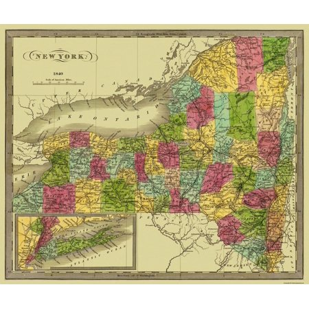 Old State Map   New York   Greenleaf 1840   27 31 X 23