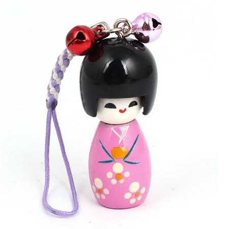 Japanese Cell Phone Straps (Pink Japanese Kokeshi Doll Pendant Bell Decor Mobile Cell Phone Chain)