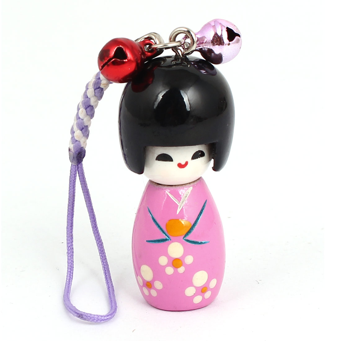 Pink Japanese Kokeshi Doll Pendant Bell Decor Mobile Cell Phone Chain Strap