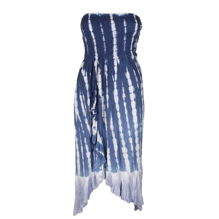 Raviya Plus Size Navy White Tie-Dye Printed Ruffled Tube Dress Cover-Up 1X