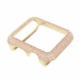 Custom Bezel - Bezel For Apple Watch Pink Simulated Diamonds Stainless Steel 38 MM Rose Finish