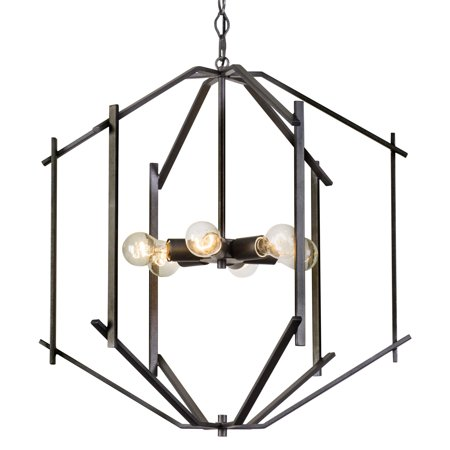 - Rogue Décor Offset - 6 Light Pendant - Forged Iron Finish