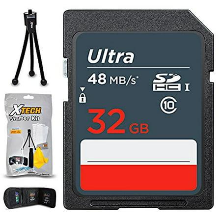32GB SD Memory Card (High-Speed) + Xtech Starter Kit for Nikon Cameras including Nikon Coolpix A900, B500, B700, L840, L830, W300, W100, P900, P610, AW130, (32GB Memory