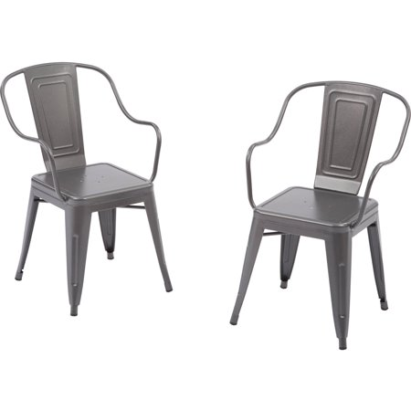 Better Homes And Gardens Camrose Farmhouse Industrial Chairs Gray 2pk