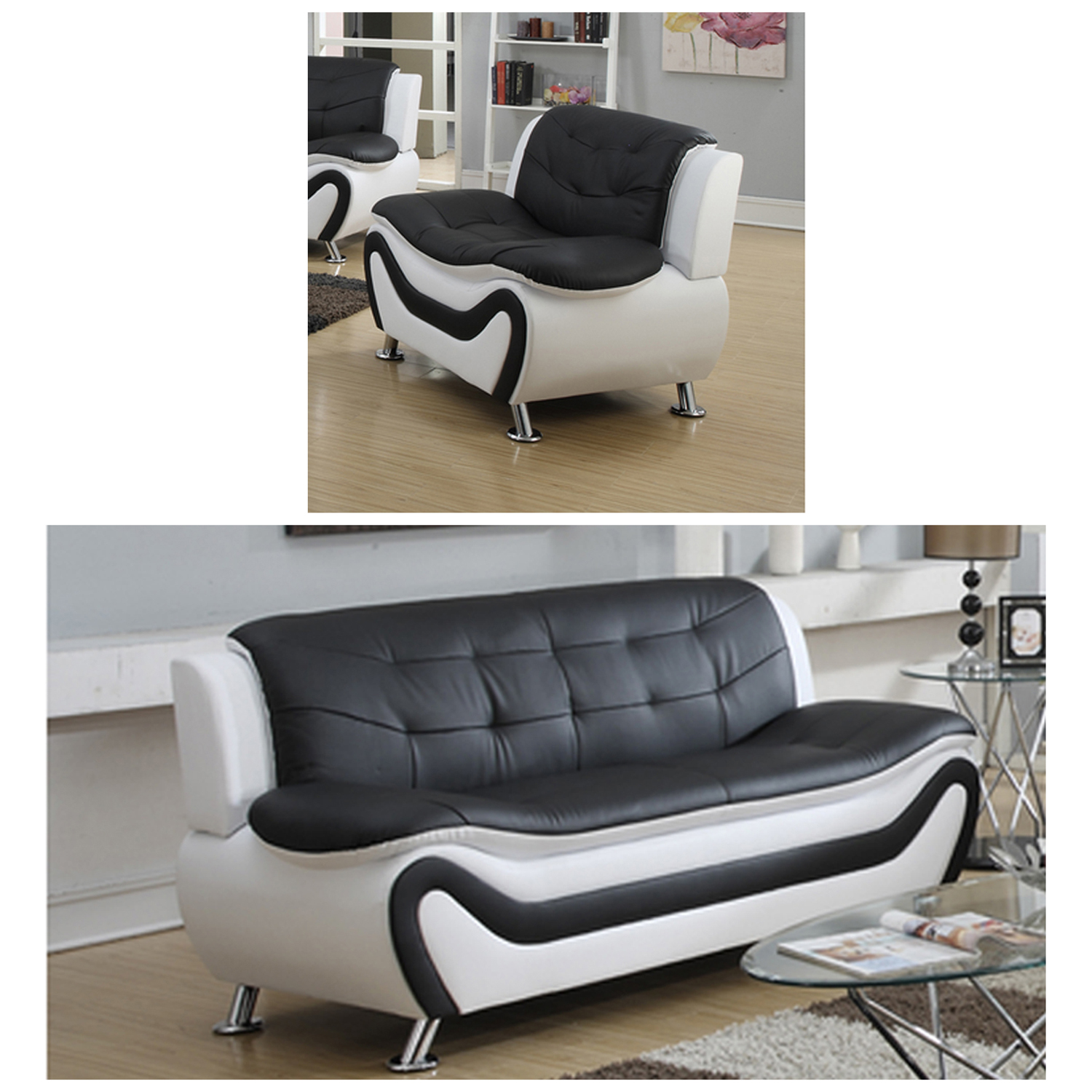 Frady Black and White Faux Leather Modern Living Room Sofa and Chair Set