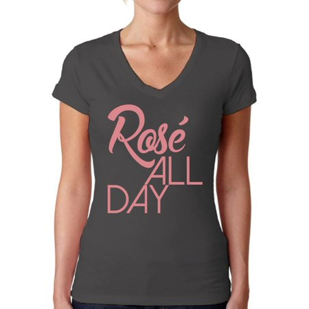 - Awkward Styles Women's Rose All Day Relaxed Drinking V-neck T-shirt Wine Lover Gift