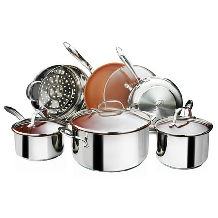Gotham Steel Premium Tri-Ply Stainless Steel 10-Piece Complete Kitchen Set with Nonstick Copper Coating