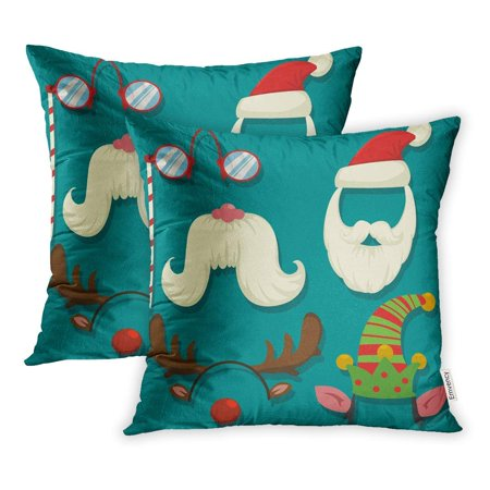 CMFUN Christmas Booth Props Cartoon Carnival Masks for Parties Cap and Beard of Santa Pillow Case Pillow Cover 20x20 inch Set of 2](Carnival Booths)
