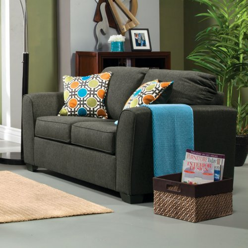 Furniture of America Leon Fabric Loveseat - Gray