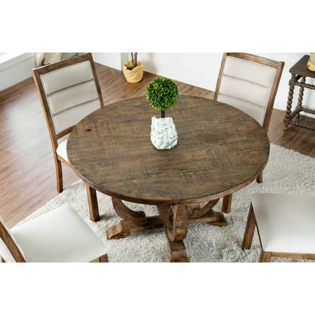 Furniture of America Wenslow 5-Piece Rustic Antique Oak Round Dining Table  Set