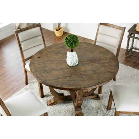 Furniture Of America Wenslow 5 Piece Rustic Antique Oak Round Dining