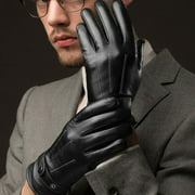 Fashion Mens Fitted Real Leather Touch-Screen Gloves with Racing Driving Gloves