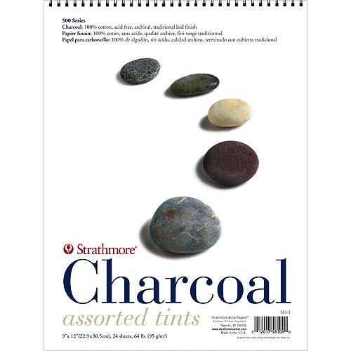 "Strathmore Assorted Color Charcoal Paper Pad, 18"" x 24"", 64lb 24 Sheets"