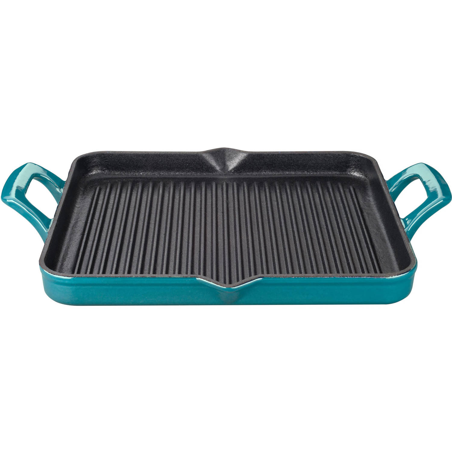 La Cuisine Rectangular 1 Qt. Cast Iron Grill Pan with Enamel Finish