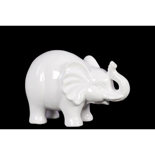 Urban Trends Ceramic Elephant SM Gloss White