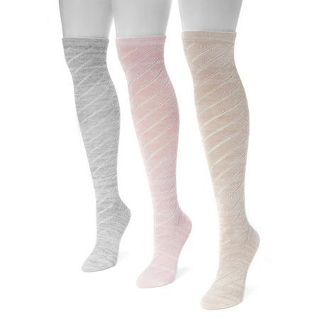 Pointelle Knee Socks (Women's Pointelle Marl Knee High Socks 7 x 3.5)