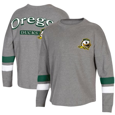 Girls Youth Heathered Charcoal Oregon Ducks Oversized Long Sleeve Fan T-Shirt