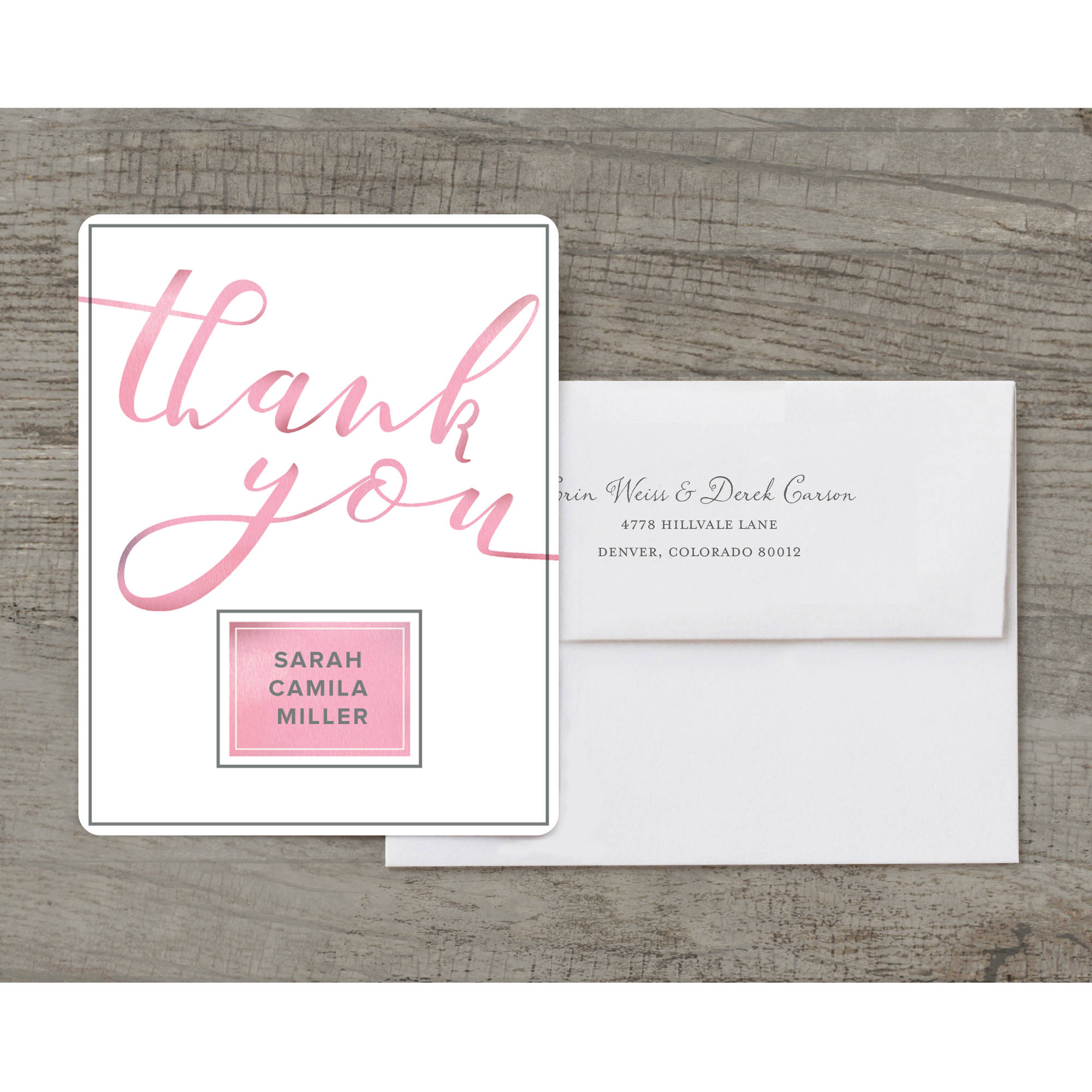 Graceful Script Deluxe Thank You Card