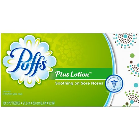 Puffs Plus Lotion Facial Tissues, White, 124 Sheets/Box