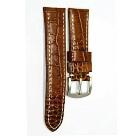 20MM BROWN ALLIGATOR GRAIN GENUINE LEATHER WATCH BAND STRAP