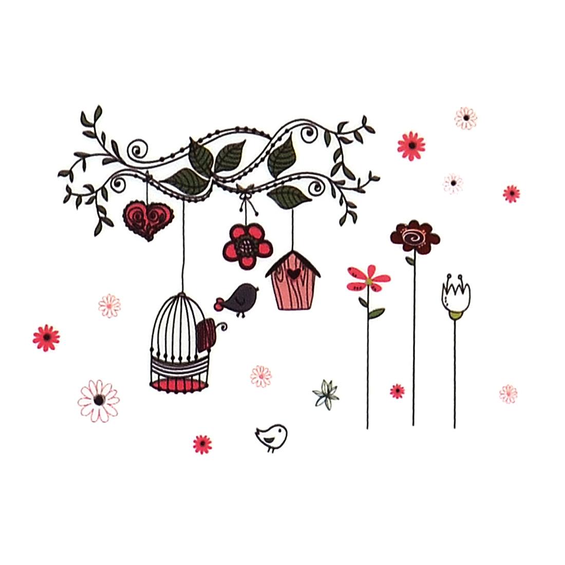 PVC Cartoon Style Bird Cage Flower Pattern Wall Decor Sticker Decal Mural