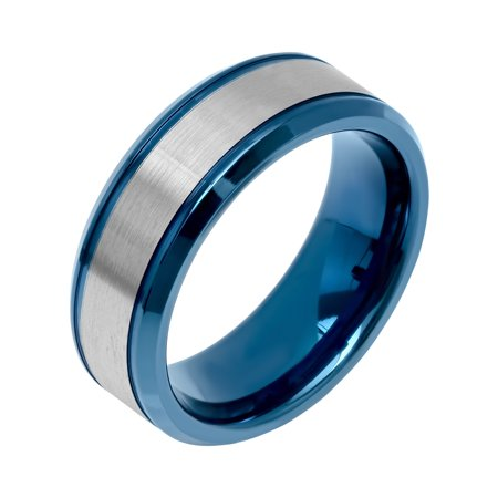 Men's Stainless Steel Two-Tone Blue Satin Finish Wedding Band - Ring