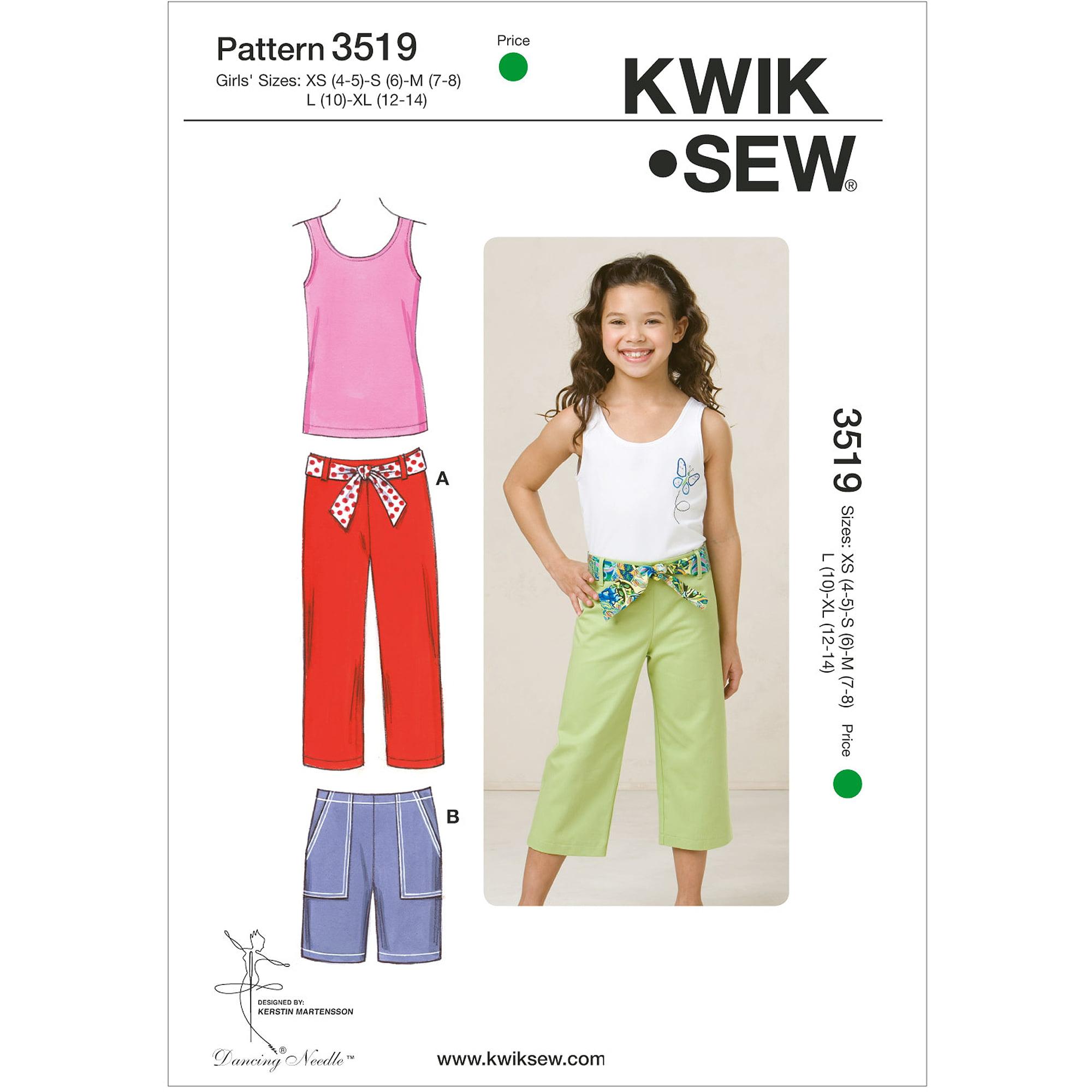 Kwik Sew Pattern Pants, Shorts and Top, XS (4, 5), S (6), M (7, 8), L (10), XL (12)