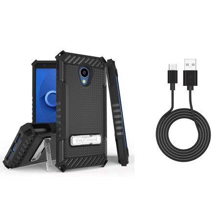 Bemz Accessory Bundle for Alcatel TCL LX - Tri-Shield Military Grade Kickstand Case (Black) with Durable Micro USB Data Sync Cable (3 feet) and Atom Cloth for Alcatel TCL LX