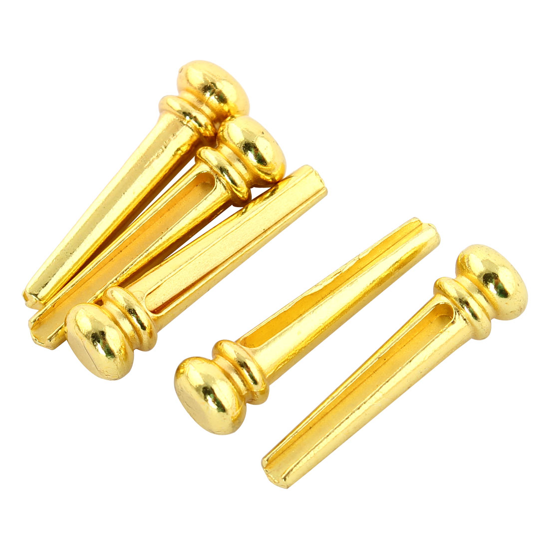 5pcs Metal Instrument Acoustic Replacement Parts Guitar Bridge Pins Gold Tone