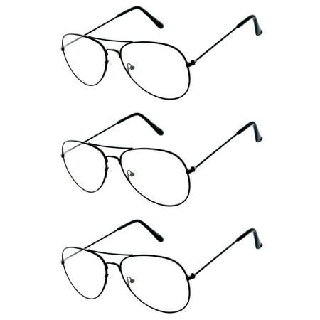 Aviator Clear Lens Black Metal Sunglasses Men's Women's Non-Prescription OWL (3 (Prescription Aviator Sunglasses)