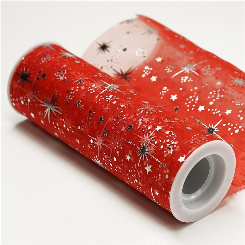 "6""x10 Yards Red Organza Tulle Fabric Bolt With Hot Foil Stamped Star Design"